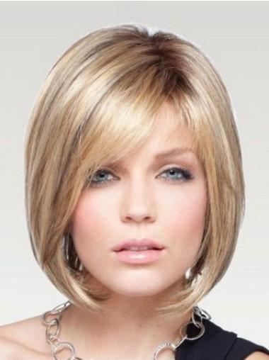 Short Straight Monofilament Blonde Beautiful Bob Wigs